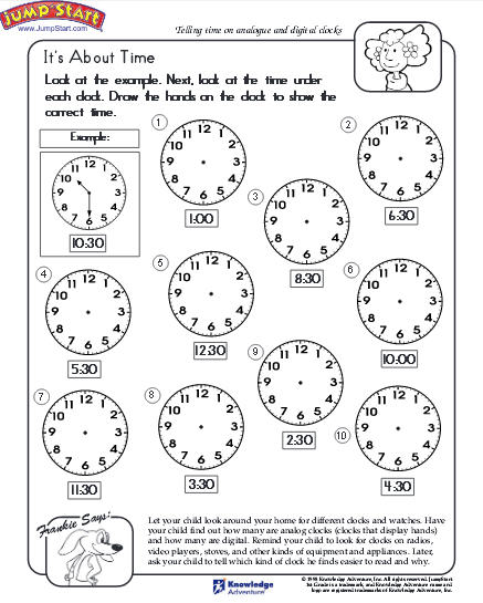 Telling Time Worksheet Download Education World