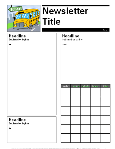 August September Parent Newsletter Template Education World