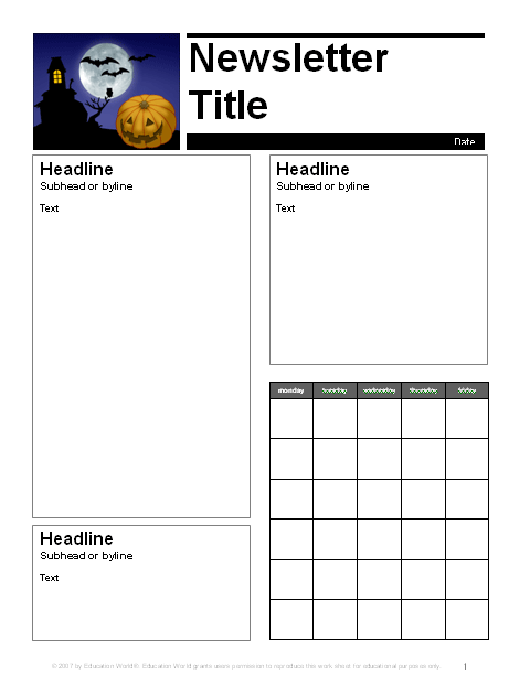 october parent newsletter template education world