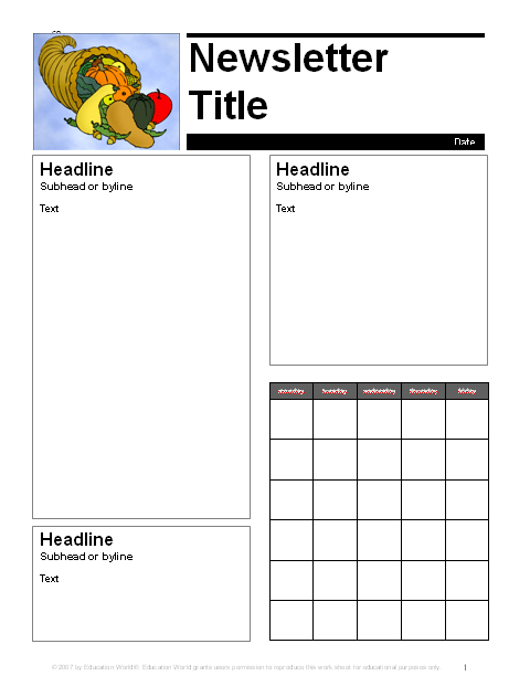 November Parent Newsletter Template Education World - August newsletter template