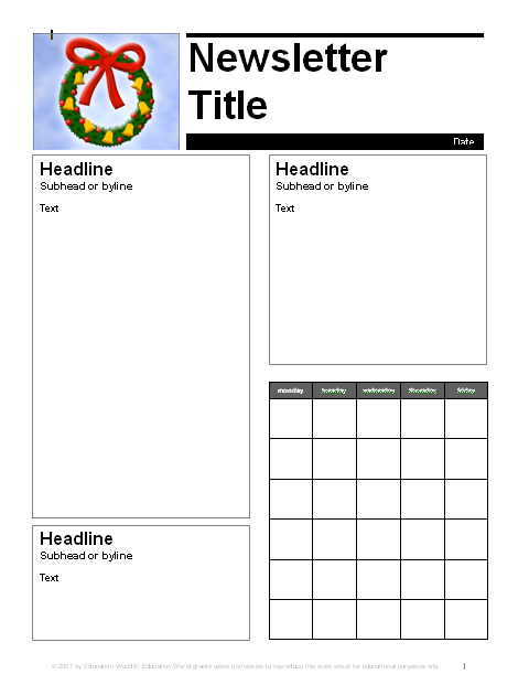 Education World: December Parent Newsletter Template