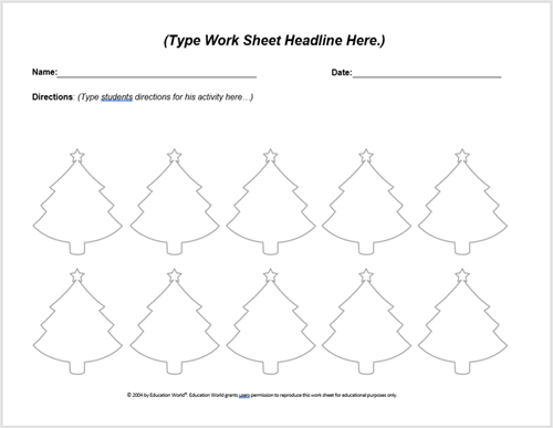 Christmas Worksheet Template | Education World
