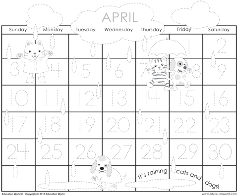 calendar april 2011 template. April 2011 Traceable Calendar