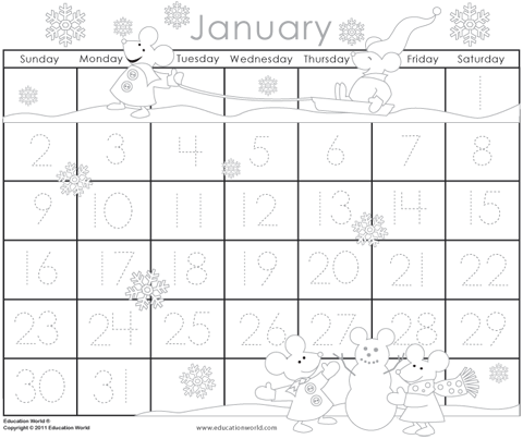 January 2011 Traceable Calendar Template Education World