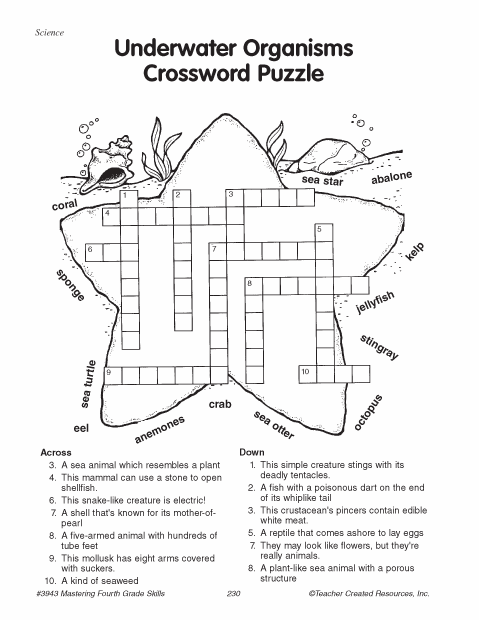 Education World: Underwater Organisms Crossword Puzzle