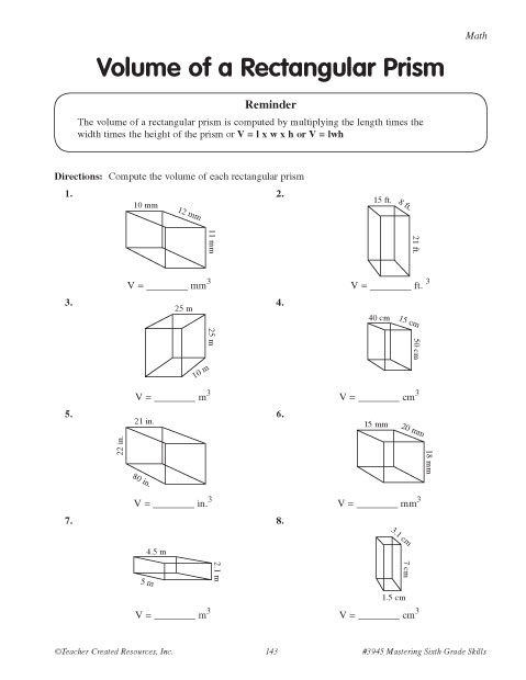 Volumes of a Rectangular Prism | Education World