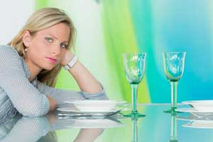 woman waiting at table