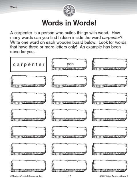 Teacher Created Resources Words In