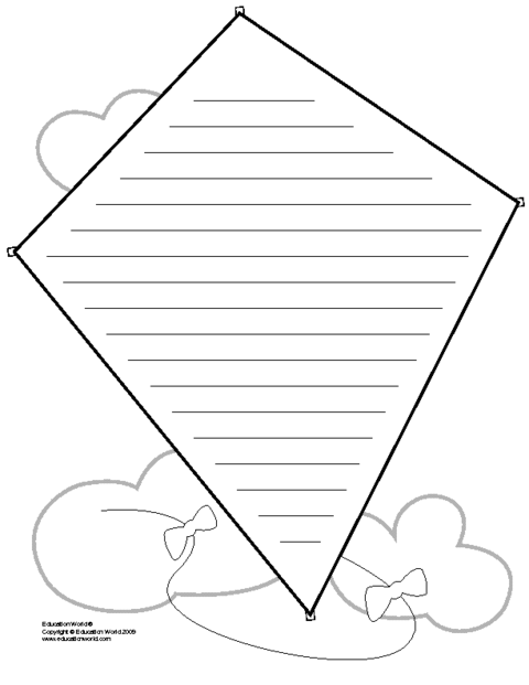 This is a graphic of Kite Template Printable intended for outline