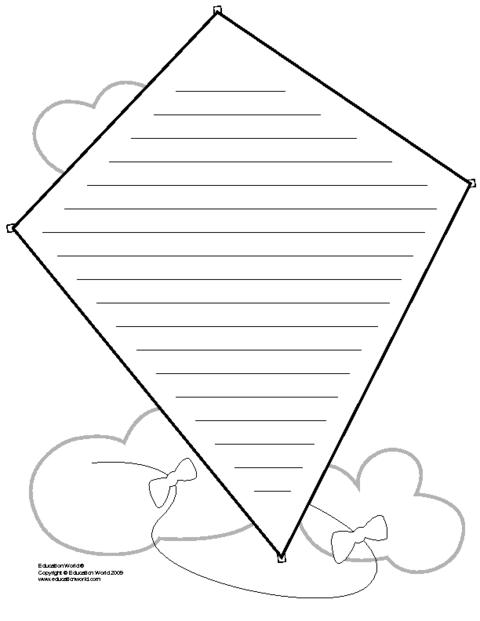 kite shapebook lined template education world. Black Bedroom Furniture Sets. Home Design Ideas