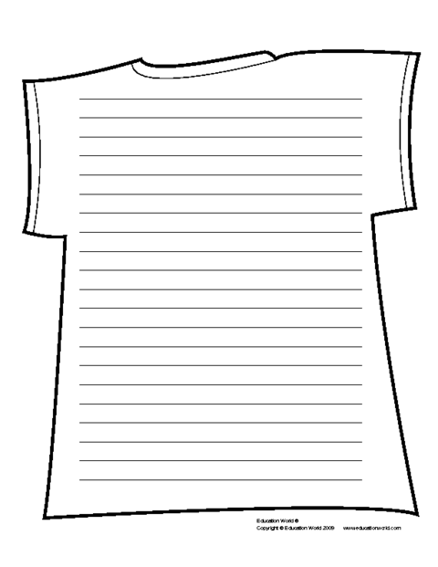 T Shirt Shapebook Lined Template Pdf Education World