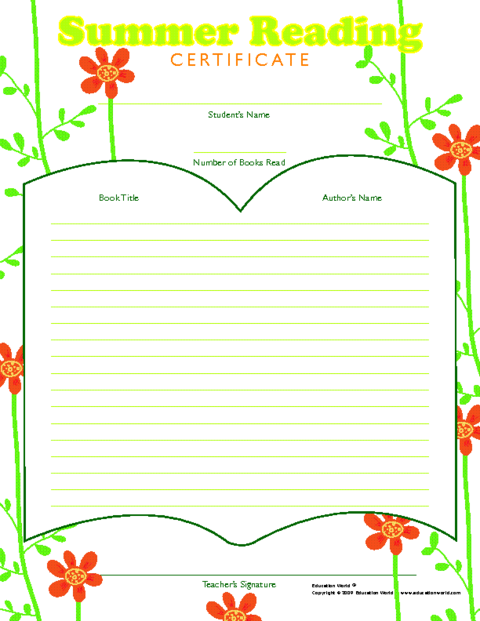 Education world summer reading color award certificate template click here ewsummerreads downloadpdf to download the document yadclub Choice Image