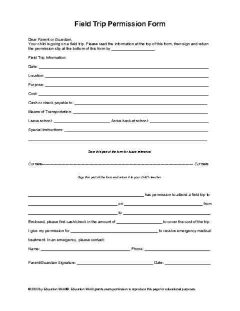 Field Trip Permission Slip Template Education World