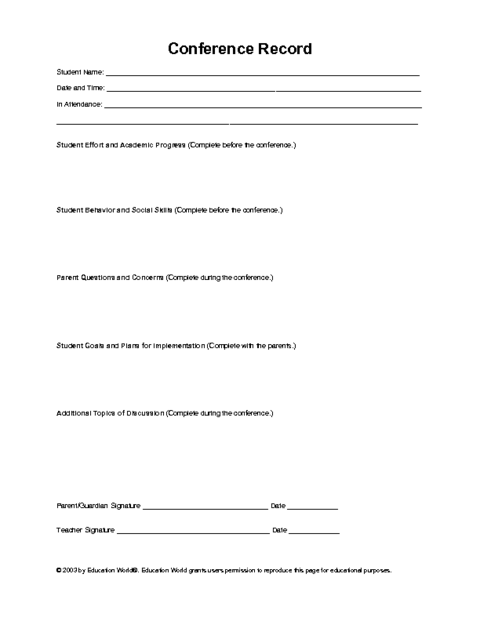parent teacher conference record template education world