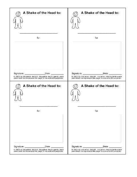Negative Action Card Template | Education World