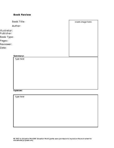 Education World Secondary Book Review Template – Book Review Template