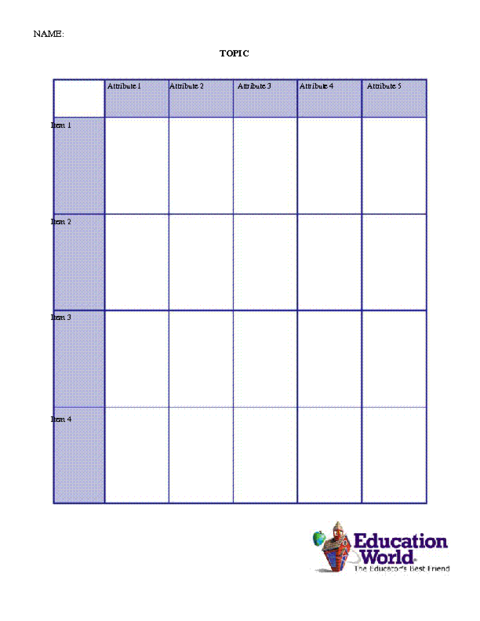 Education World Comparison Chart Template – Blank Comparison Chart Template