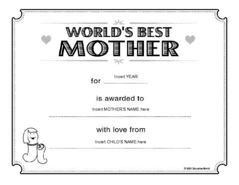 Education world worlds best mother certificate template click here certificatebestmother downloadc to download the document yadclub Gallery