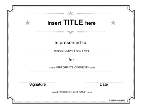 Education World Generic Certificate Template – Blank Certificate Format