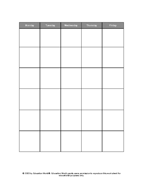 Education World Five Day Calendar Grid Template – 5 Day Schedule Template