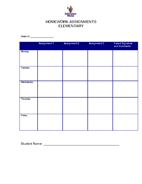 Homework assignment sheets for students