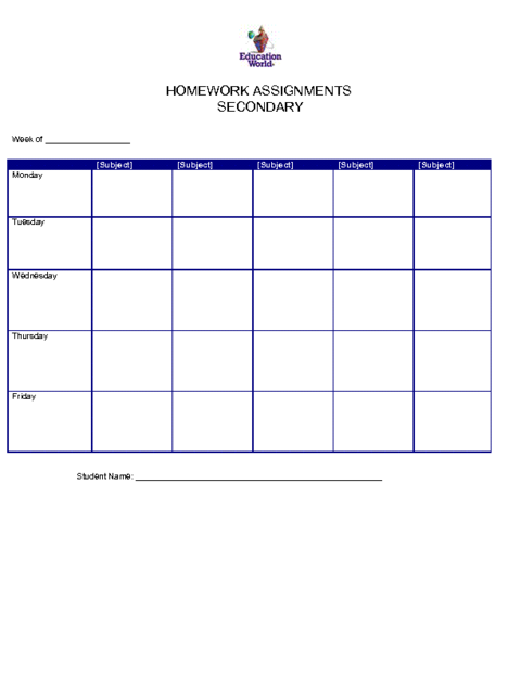 Education World: Secondary Homework Assignment Organizer Template