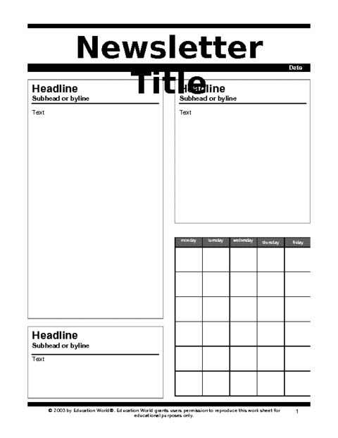 Education World: Newsletter 1 Template