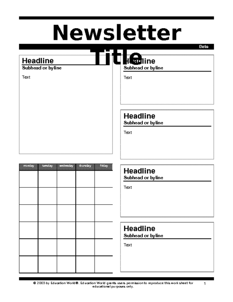 Newsletter 2 template education world for Weekly bulletin template