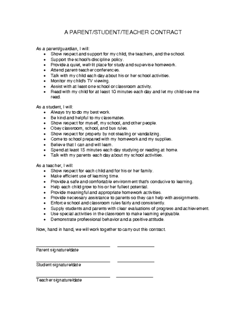 Parent student teacher contract template education world for Student contracts templates