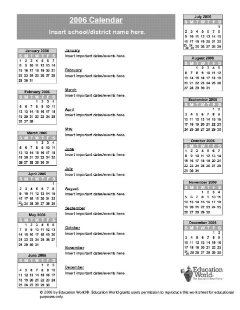 April Calendar Education World : School calendar template doc education world