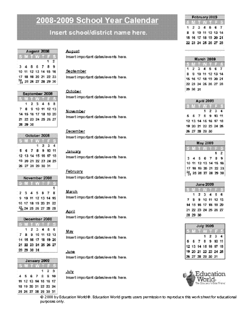 2008 2009 School Year Calendar Template Education World