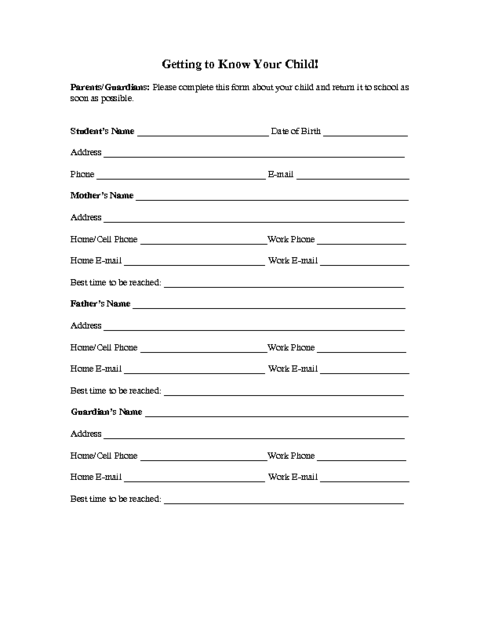 Superb Child Information Form Template  Information Sheets Templates