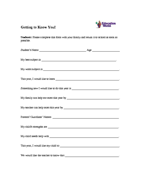 Student Profile Form Template Education World