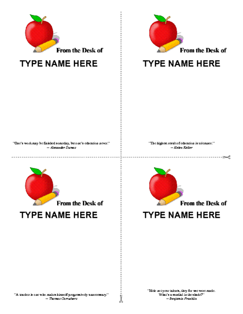 Personalized Teacher Notepad Template 4 Doc Education World