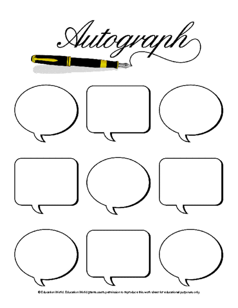 Pages autograph. Student page template education