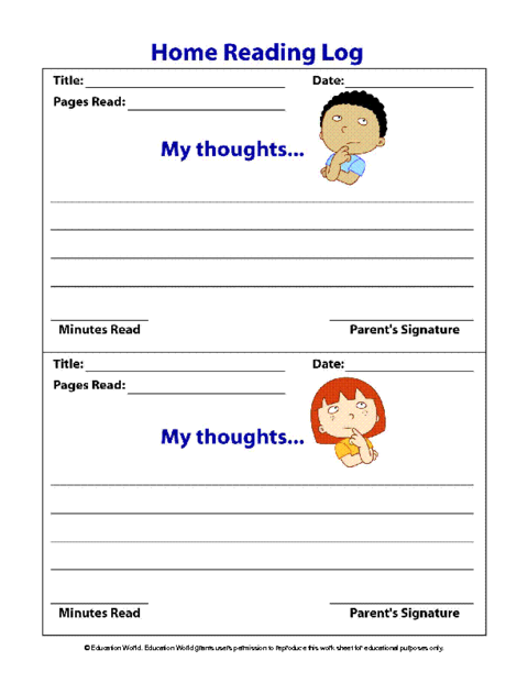 Home Reading Log Template | Education World