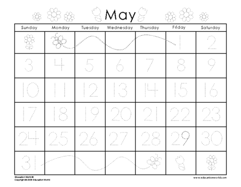 May 2009 Traceable Calendar Template Education World