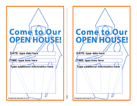 Education World: Open House Invitation Template