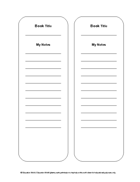 Reading notes bookmark template doc education world for Book marker template