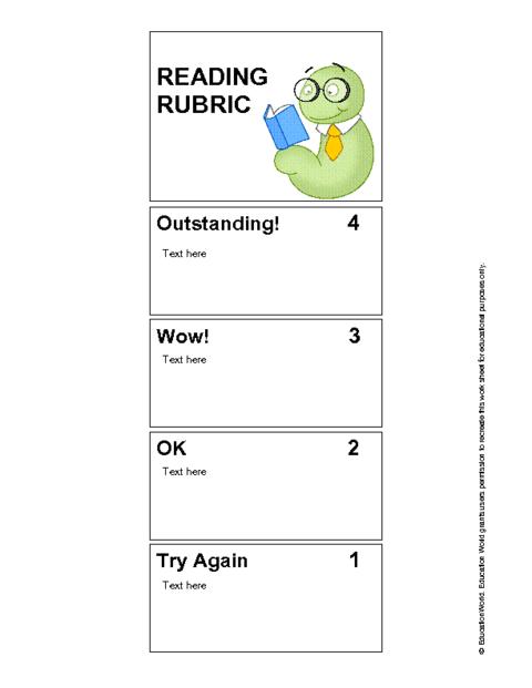 rubric bookmark template pdf education world