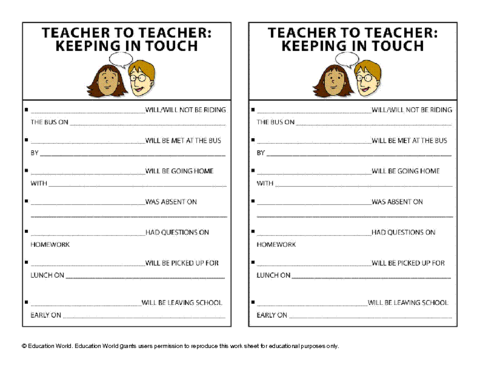 Education World: Teacher-To-Teacher Communication Template