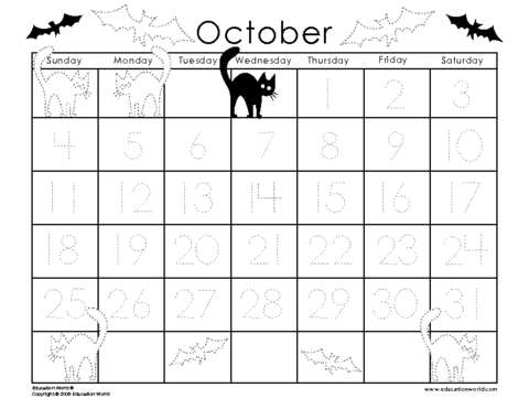 October 2009 Traceable Calendar Template Education World