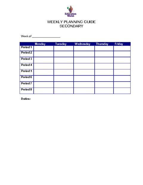 weekly plans template