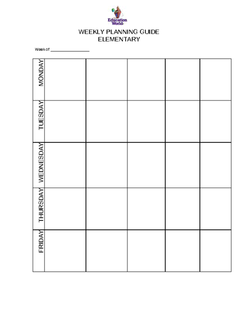 Education World: Elementary Weekly Planning Guide Template